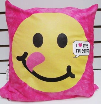 Bunk Junk Pink Emoji Face Autograph Pillow