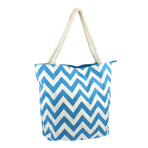 Bunk Junk Luggage 3011 Chevron Tote Bag Canvas Light Turquoise Lg