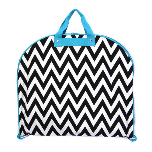Chevron Fashion Garment Bag 9929 Color Blk Turquiose Trim.