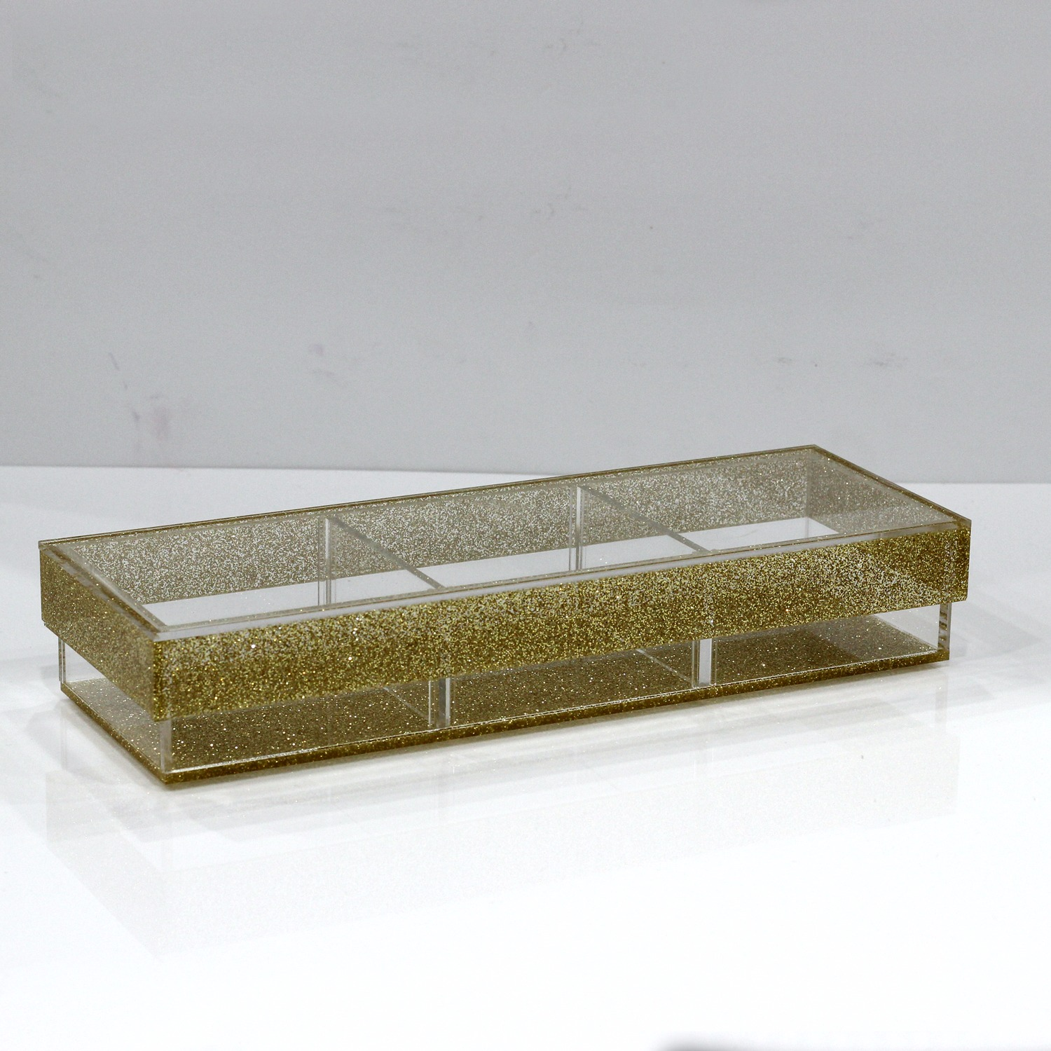 Lucite Divider Sectional Tray (3 Medium) CHOOSE A COLOR