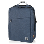 ELESAC 16.5 inch dual pocket full size backpack with sturdy metal handle - water resistant (Blue)