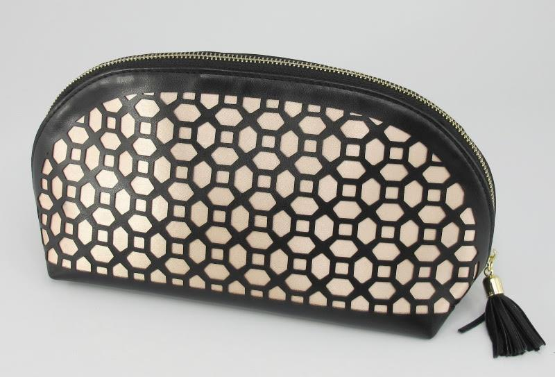Leather Cosmetic Bag (Black/Bronze)