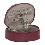Rowley Plush Fabric fashion jewelry box Dark Cherry