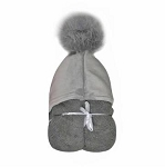 Pompom Hooded Towel (Gray) INCLUDES EMBROIDERY