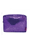 Sequin Cosmetic Pouch Toiletry Case (Purple)