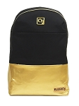 ELESAC 16.5 inch backpack for school, camp, travel, water resistant with Leather Bottom (Black/Gold)