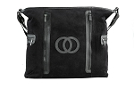 Cozy Coop Black Velour Diaper Bag