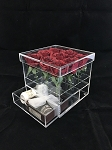 Crystal Acrylic Lucite Square Flower Box with Drawer (9 Hole) Mishloach Manot