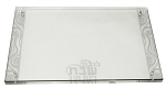 Lucite Glass Challah Board (Clear/Silver)
