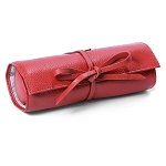 Morelle & Co Carrie Genuine Pebble Grain Leather Jewelry Roll Travel Case (Coral)