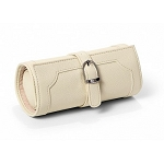 Morelle & Co Olivia Belted Jewelry Roll Travel Case (Cream)