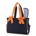 Quilted 2PC Diaper Bag :Navy/Orange