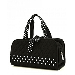 Quilted 3PC Cosmetic Bag Black/White