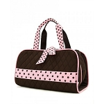 Quilted 3PC Cosmetic Bag Brown/Pink