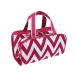 Quilted 3PC Cosmetic Bag Pink/white Chevron