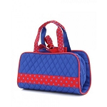 Quilted 3PC Cosmetic Bag Royal/Red