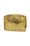 Sequin Cosmetic Pouch Toiletry Case (Gold)