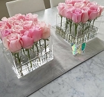 Crystal Acrylic Lucite Square Flower Box (16 Hole)