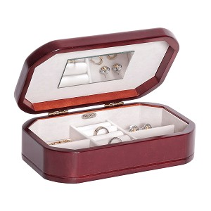 Morgan Plush Fabric fashion jewelry box Cherry Wood