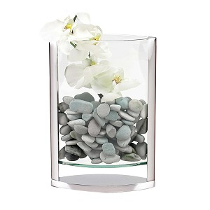 "The Donald 14"" Bent Glass and Aluminum High Design Pocket Vase"