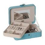 Giana Plush Fabric fashion jewelry box (Aqua)