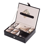 Carson Plush Fabric Men's Jewelry Box (Black) INCLUDES ENGRAVING