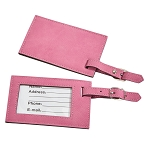 Pink Leatherette Luggage Tag, 4.375