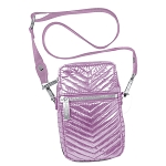Pink Chevron Quilted Metallic Cell Bag