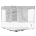 Marble Lucite Swivel Silverware Caddy