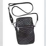 Black Chevron Quilted Metallic Cell Bag