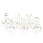 Glass Cups & Saucers (Set of 6)