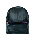 Black Metallic Faux Leather Mini Backpack