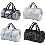 Metallic Puffer Duffles w/Decorative Straps