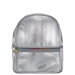 Silver Metallic Faux Leather Mini Backpack