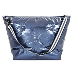 Blue Tufted Metallic Weekender Bag
