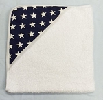 Infant Hooded Towel Navy with White Stars INCLUDES EMBROIDERY