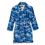 Blue Camo Fuzzy Bathrobe (Kids Size 7/8)