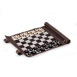 Suede Roll-Up Chess Travel Set (Gray)