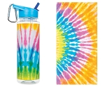 TIE DYE TOWEL AND WATER BOTTLE SET