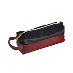 ELESAC Faux Leather Pencil Case (Black/Maroon)