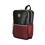 ELESAC 16 inch Faux Leather Backpack (Black/Maroon)