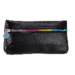 Black Metallic Faux Leather Pencil Case