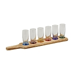 7 PIECE TAVERN TASTING FLIGHT WITH 6 GLASSES WITH COLORED BASES & A WOOD PADDLE