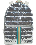 Silver Rainbow Puffer Backpack
