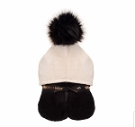 Pompom Hooded Towel (Black & Cream)