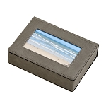 Leatherette Frame Cover Box Grey 6.75