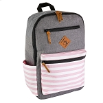 ELESAC 16.5 inch Backpack (Gray/Pink White Stripe)