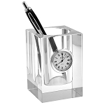 Crystal Pencil Holder with Clock H3.5""