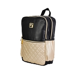 ELESAC 14.5 inch Faux Leather Backpack (Black/Gold)