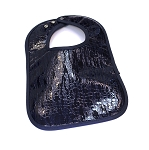 Leather Bib - Patent Leather (Navy)